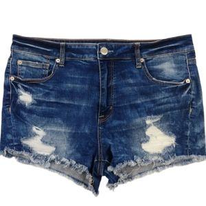 American Eagle Distressed Hi Rise Shorts Size 16